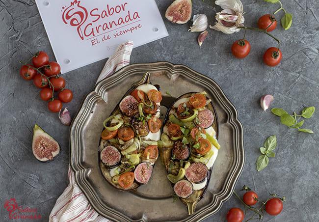 Receta para hacer berenjenas rellenas de brevas, cherry y mozzarella - Sabor Granada