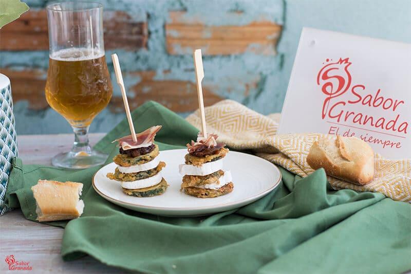 Receta para hacer Milhojas de calabacín, queso de cabra, jamón y chutney de higo verde - Sabor Granada