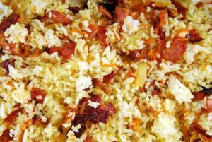 Receta de Arroz con jamón y pimientos - Sabor Granada