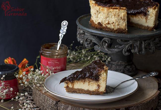 Tarta de queso y ruibarbo - Sabor Granada
