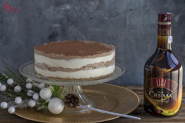 Presentación de la tarta de queso, chocolate y crema de whisky - Sabor Granada