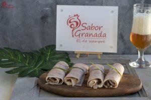 Cómo hacer rollitos de jamón cocido con queso azul y chutney de calabacín - Sabor Granada