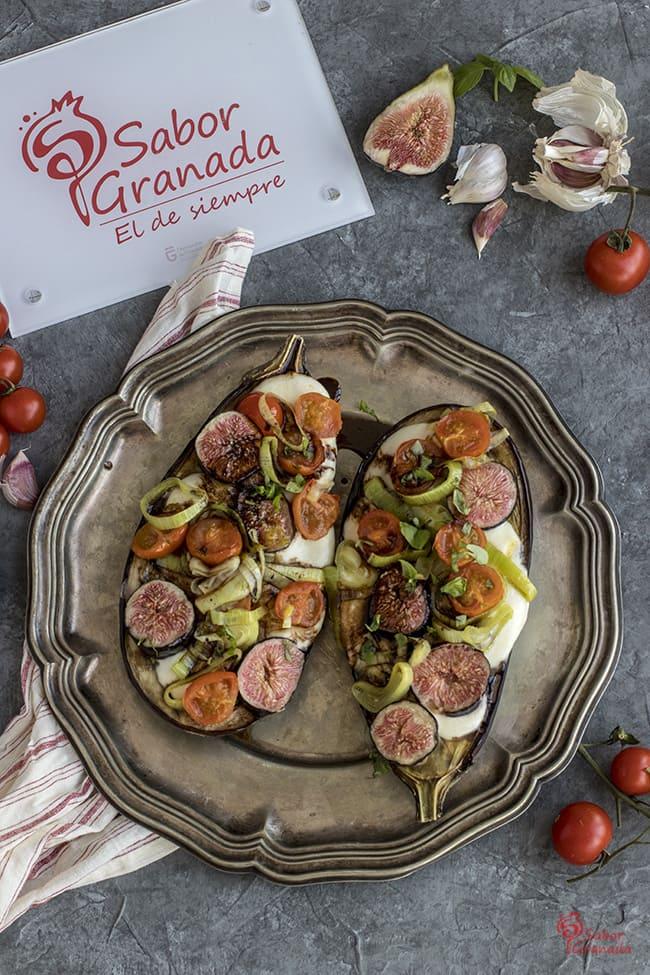 Berenjenas rellenas de brevas, cherry y mozzarella - Sabor Granada