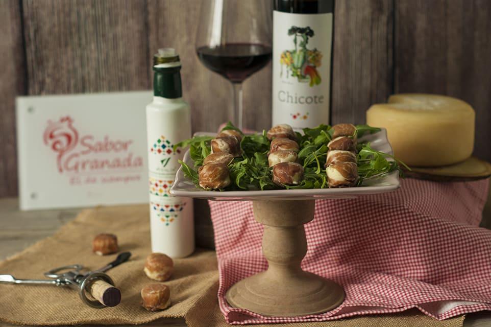 Receta para hacer bombones de jamón rellenos de paté de queso y aceite - Sabor Granada