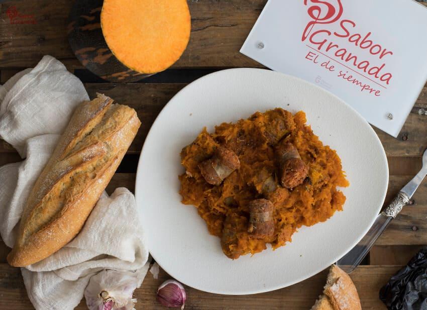 Receta de calabaza frita con chorizo - Sabor Granada