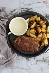 Presentación del plato de cinta de lomo rellena con patatas a las finas hierbas y salsa de jalapeño - Sabor Granada