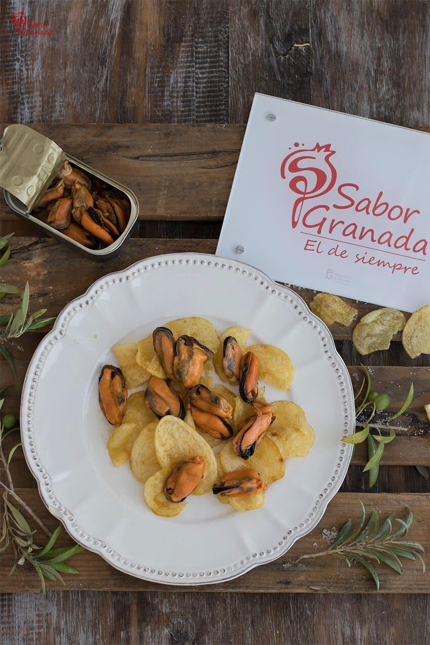 Presentación de la Receta de Mejillones en escabeche - Sabor Granada