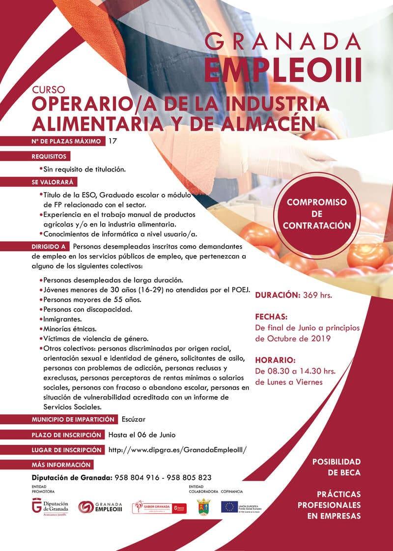 cartel curso de operario de la industria alimentaria granada empleo 3 - Sabor Granada
