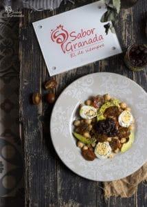 Presentación de la ensalada de garbanzos con chutney de manzana - Sabor Granada