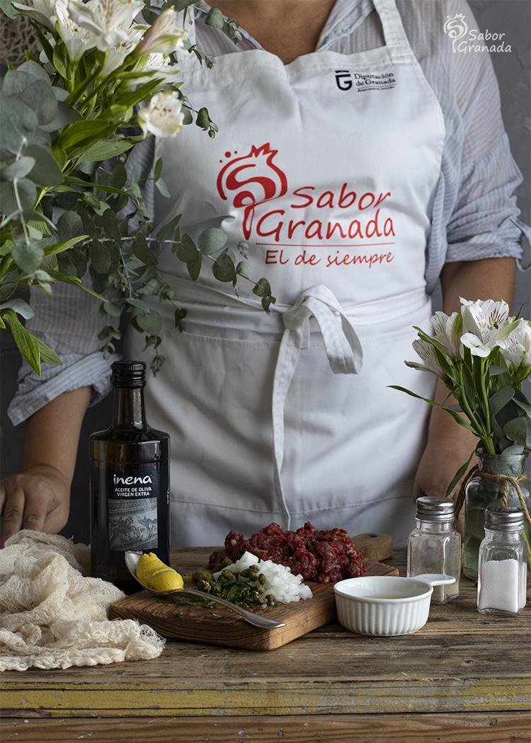 Ingredientes para la receta del Steak Tartar - Sabor Granada