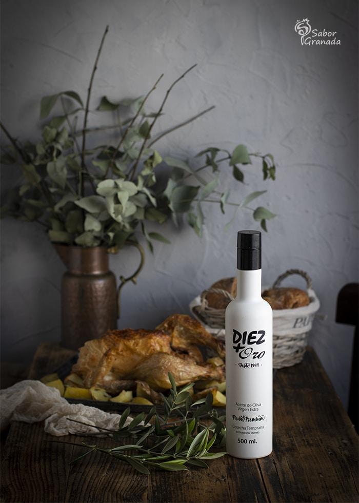 AOVE Diez+Oro para la receta de pollo con cerveza - Sabor Granada