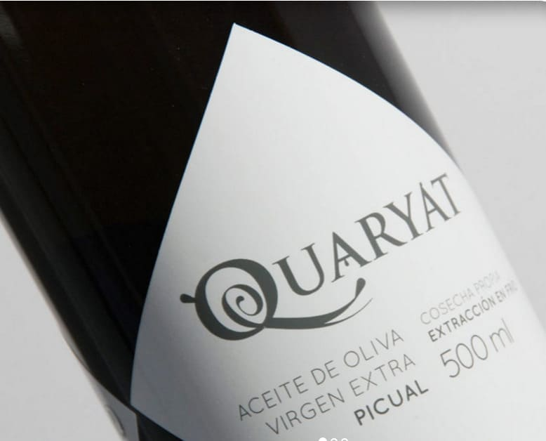 Etiqueta de la botella de AOVE Picual Quaryat de 500 mililitros - Sabor Granada