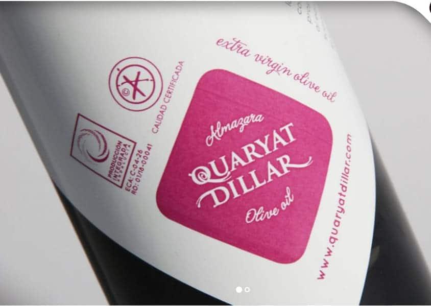 Etiqueta de botella de AOVE Quaryat - Sabor Granada