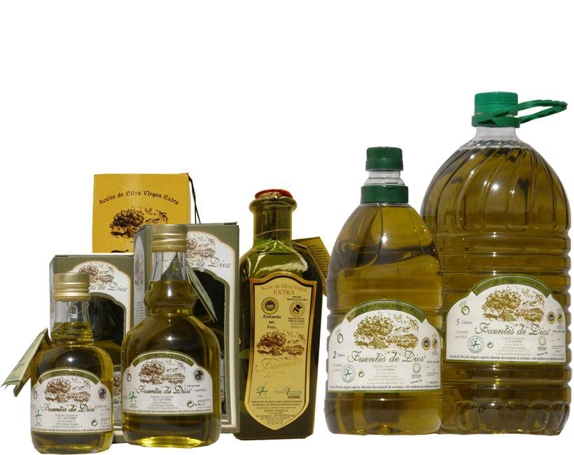 Variedad de envases de AOVE de Bodegón Fuente Dios - Sabor Granada