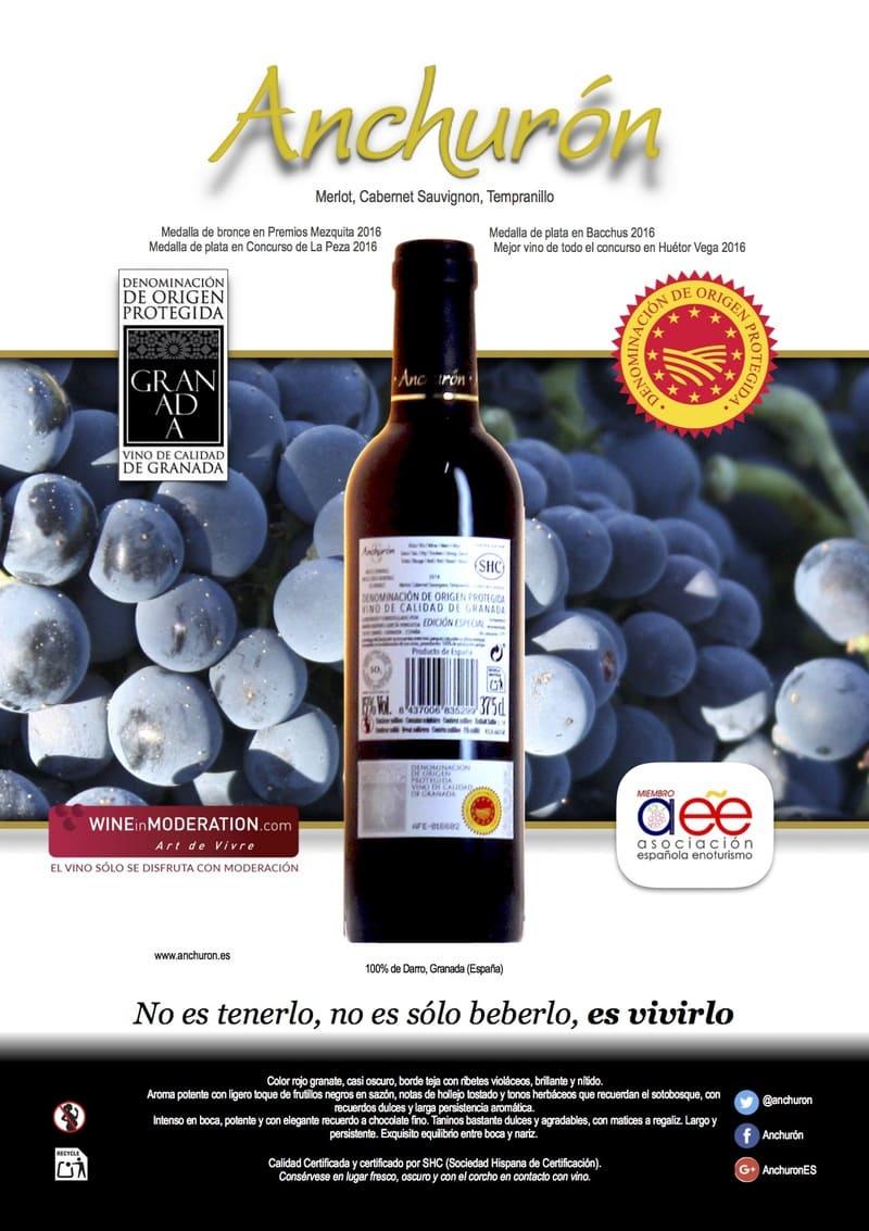 Banner de vino tempranillo de Bodega Anchurón - Sabor Granada