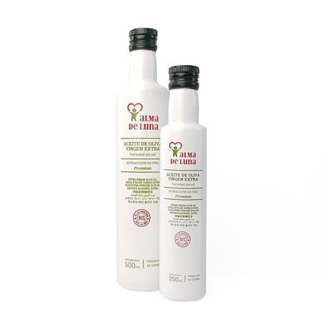 Botellas de AOVE Alma de Luna Premium de 250 y 500 mililitros - Sabor Granada