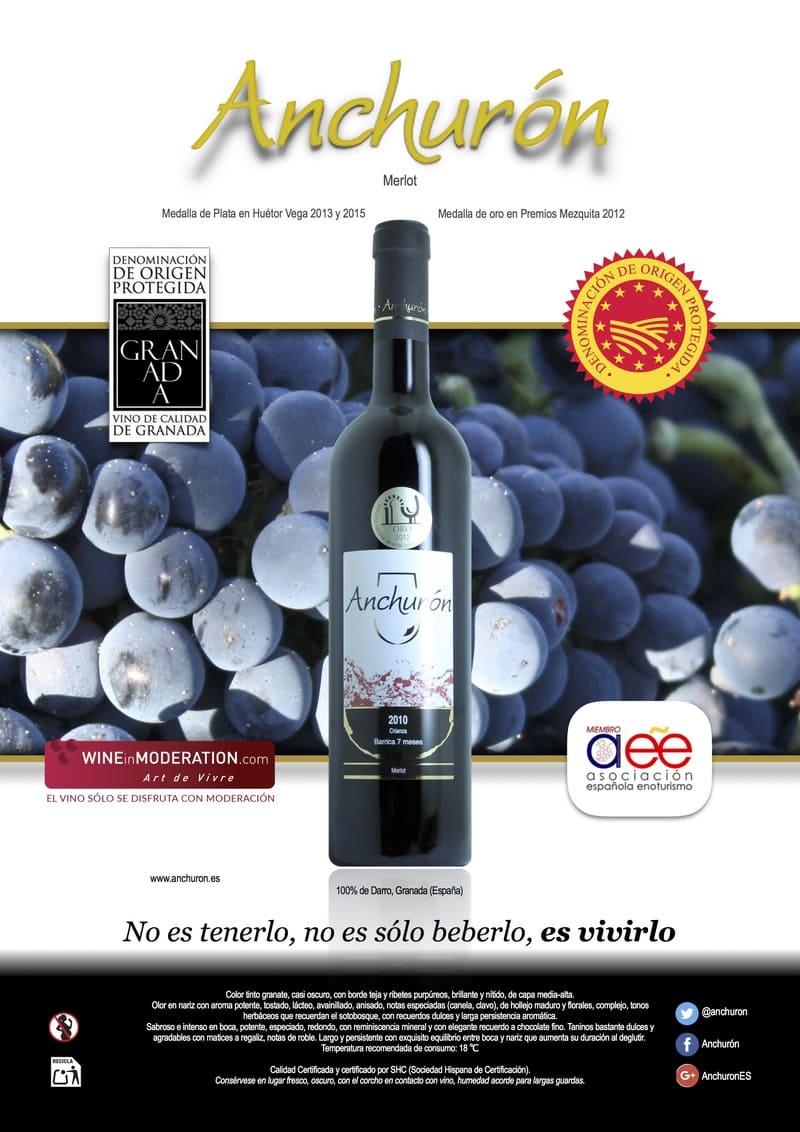 Banner de vino Merlot de Bodega Anchurón - Sabor Granada