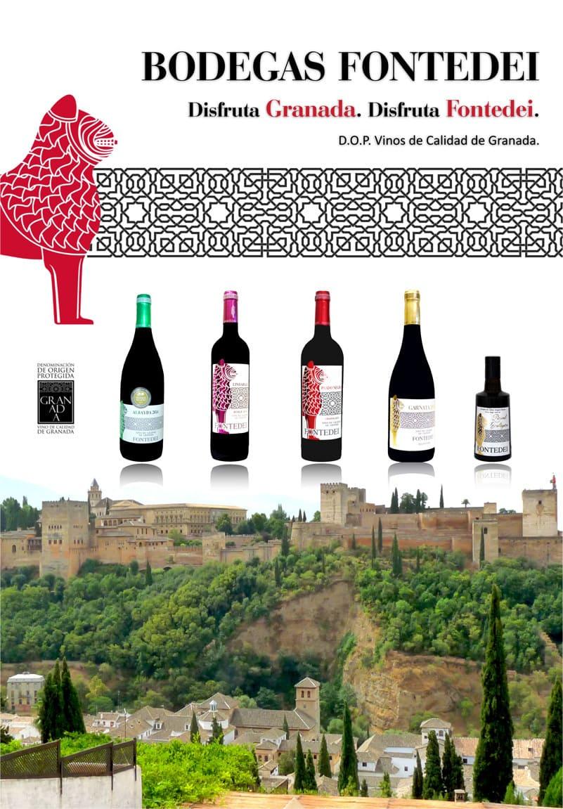 banner con distintos vinos de fontedei con la Alhambra de fondo - Sabor Granada