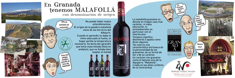 Banner contando historia del vino Malafollá - Sabor Granada