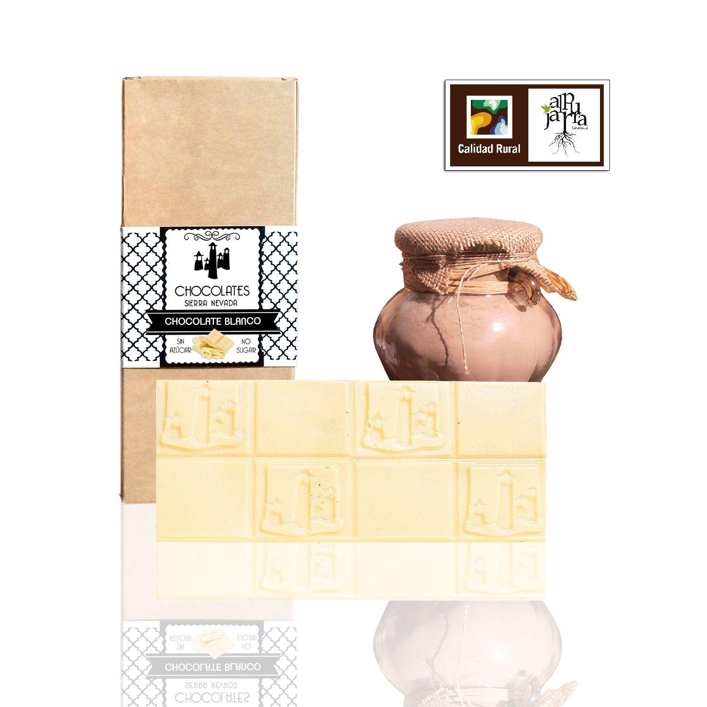 Tableta de chocolate blanco sin azúcar de Chocolates Sierra Nevada - Sabor Granada
