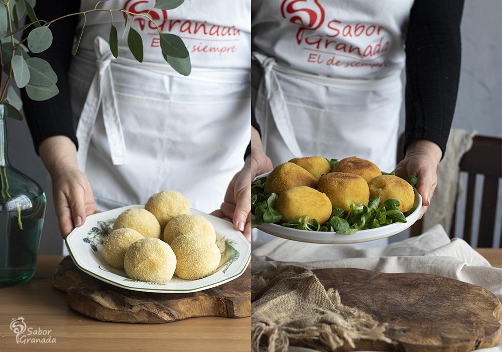 Bombas picantes de patatas antes y después de freir - Sabor Granada