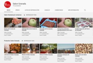 Pantallazo de la cuenta Sabor Granada en YouTube