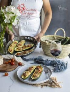 Calabacines rellenos de cherry y queso - Sabor Granada