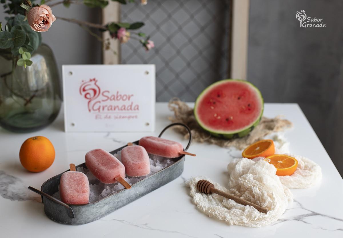 Receta para hacer polos de sandía y naranja - Sabor Granada