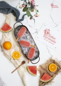 Polos de sandía y naranja - Sabor Granada